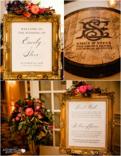Some of my DIY wedding signs and our guestbook - a quarter bourbon barrel