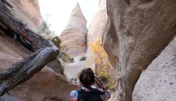 taking photographs in Tent Rocks near Santa Fe