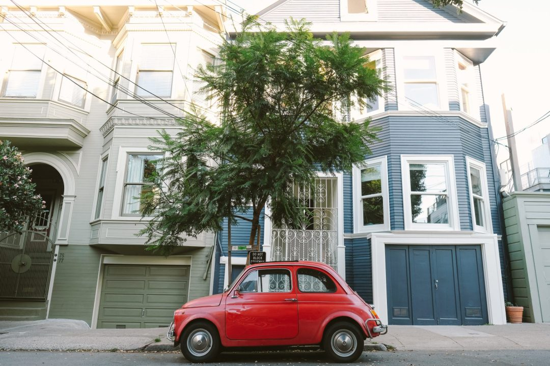 Antique red Fiat in San Francisco