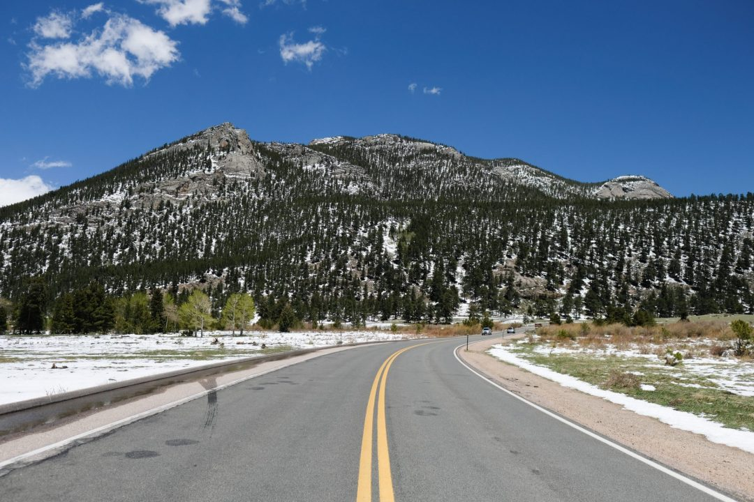 The road that goes through Rocky Mountain National Park in Colorado