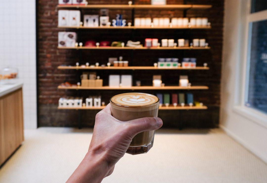 latte art inside Narrative Coffee