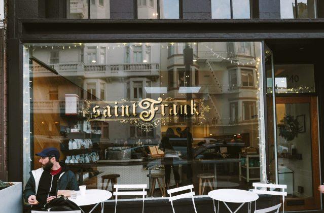 outside of Saint Frank Coffee in San Francisco