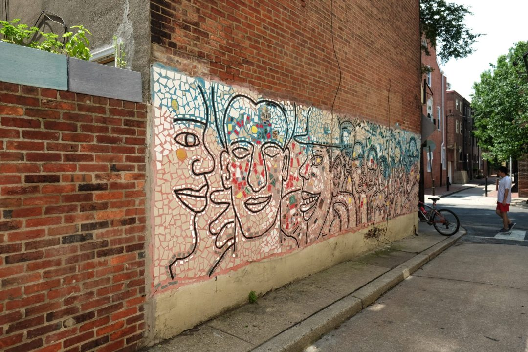 Mosaic street mural art by Isaiah Zagar in Philadelphia, Pennsylvania