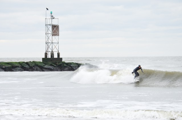 A surfer in Delaware