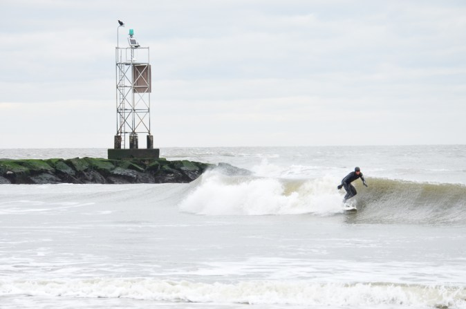 A surfer in Delaware