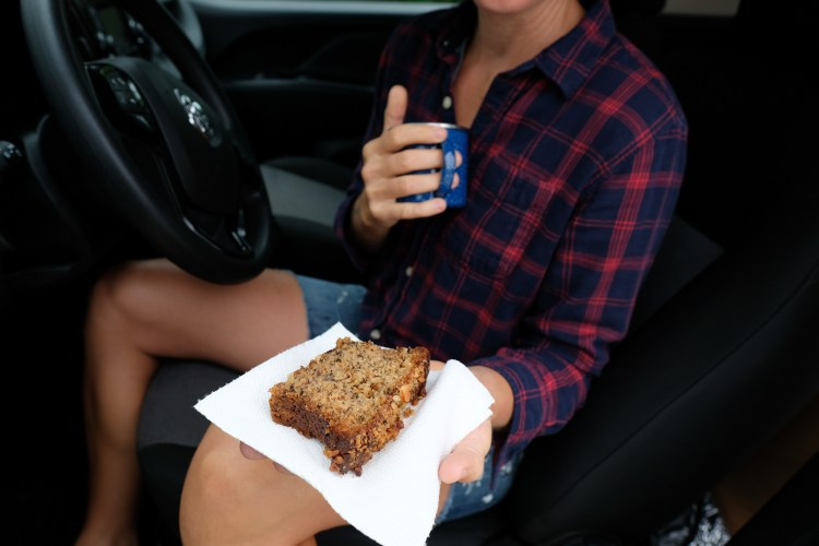 Woman holding banana bread