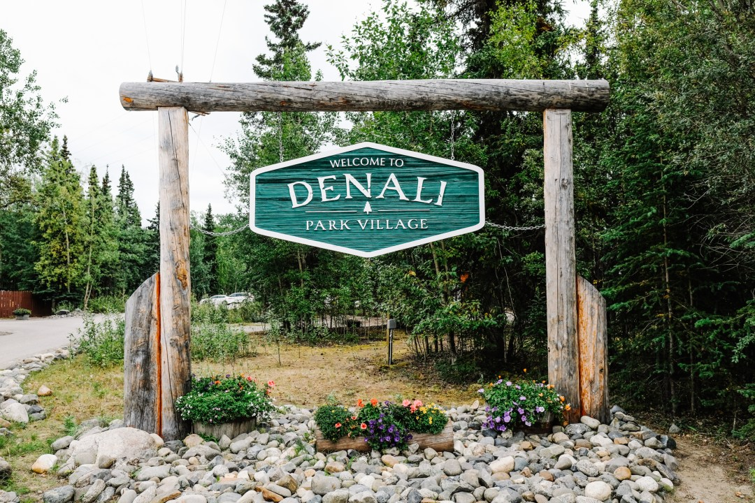 sign at the entrance of Denali Park Village