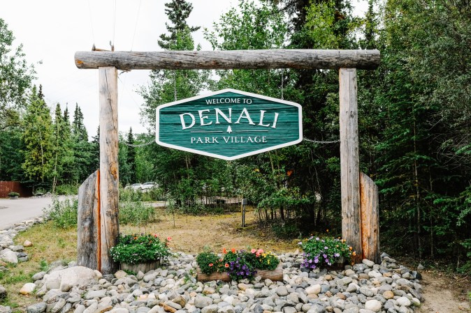 sign at the entrance of Denali Park Village