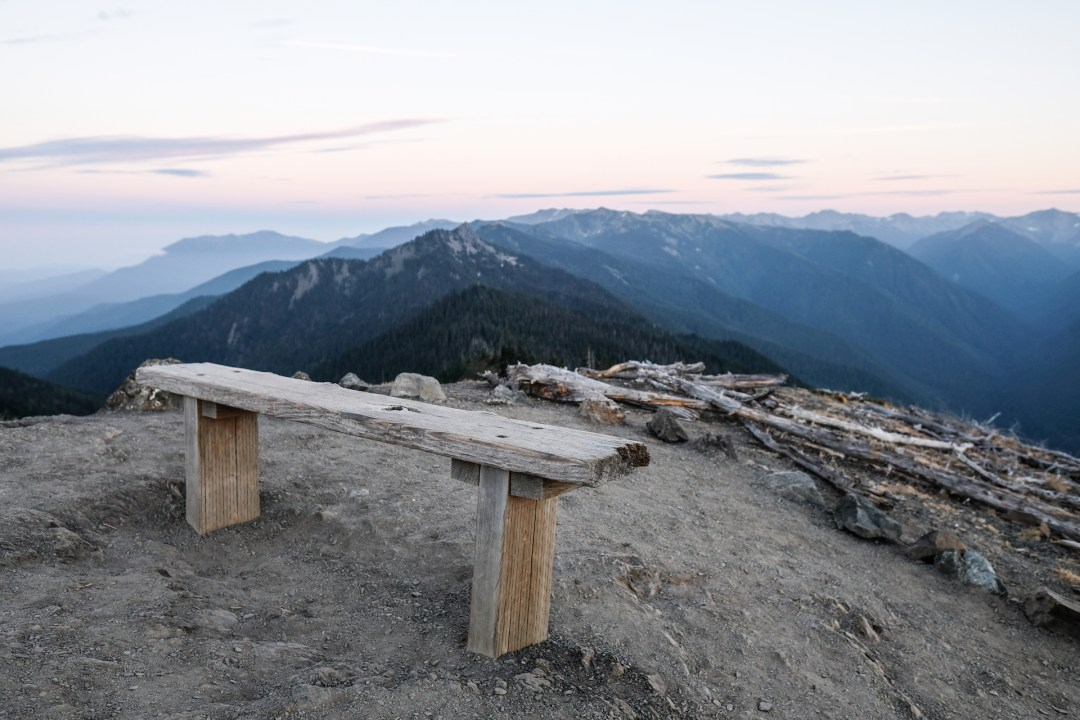 Wooden bench overlooking the mountains at Hurricane Ridge.