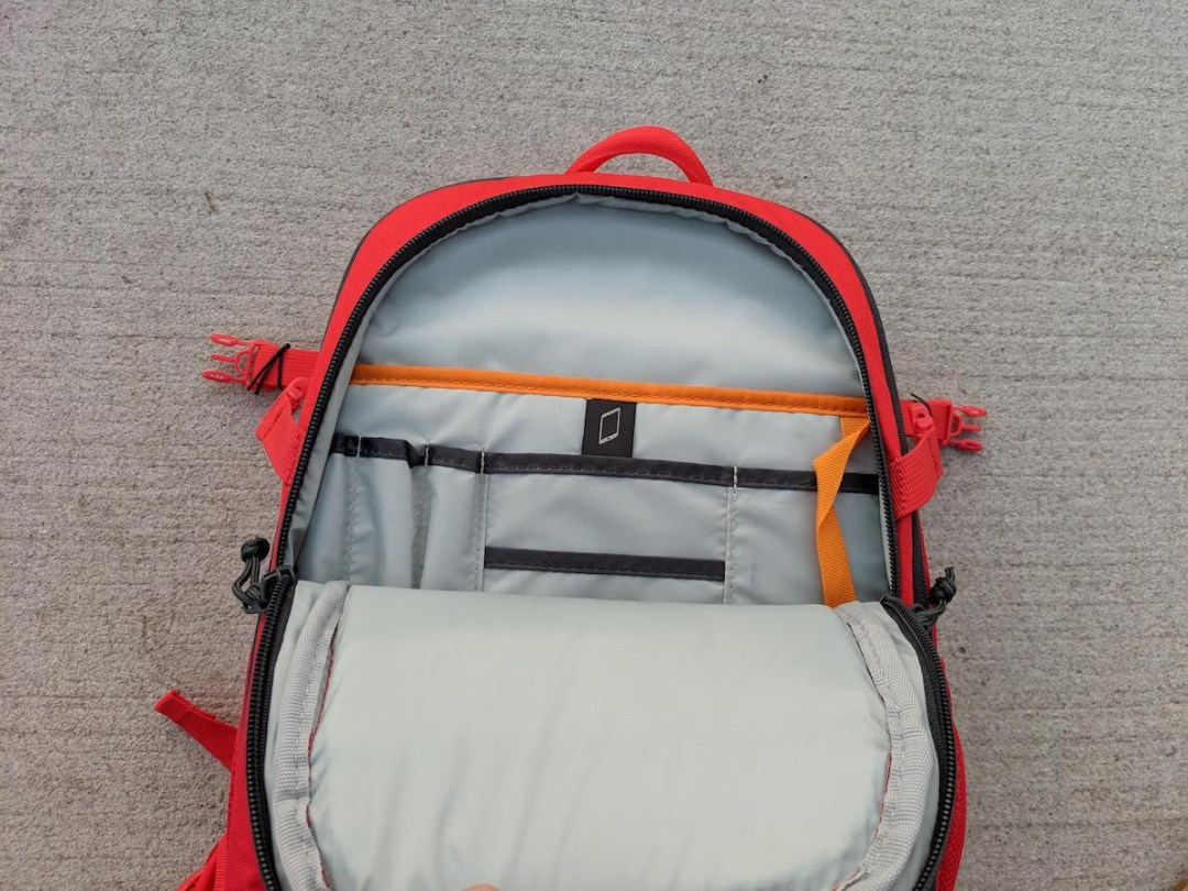 The inside of the Lowepro Tahoe BP 150