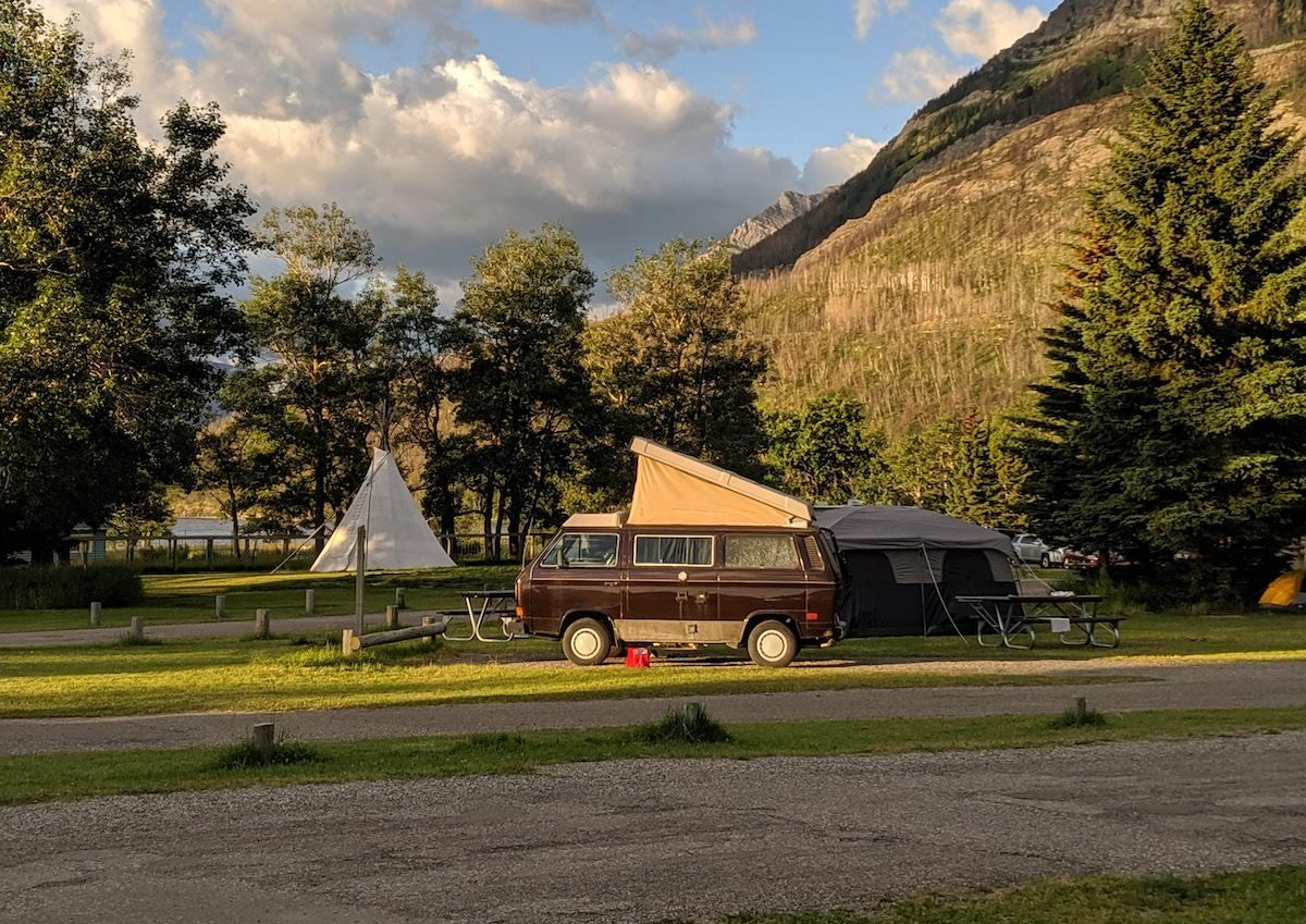 a VW van in Waterton National Park