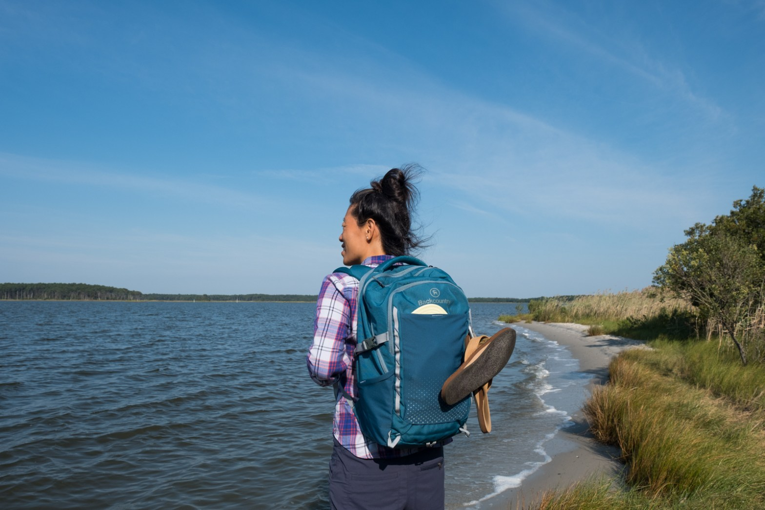 Erin McGrady wearing and testing the Review of the Backcountry 27L Daypack