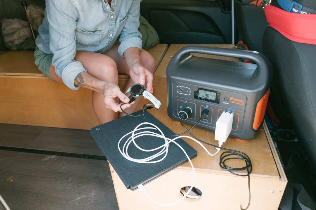 Inside the Ram Promaster City charging with the Jackery Explorer 500 Portable Power Station.