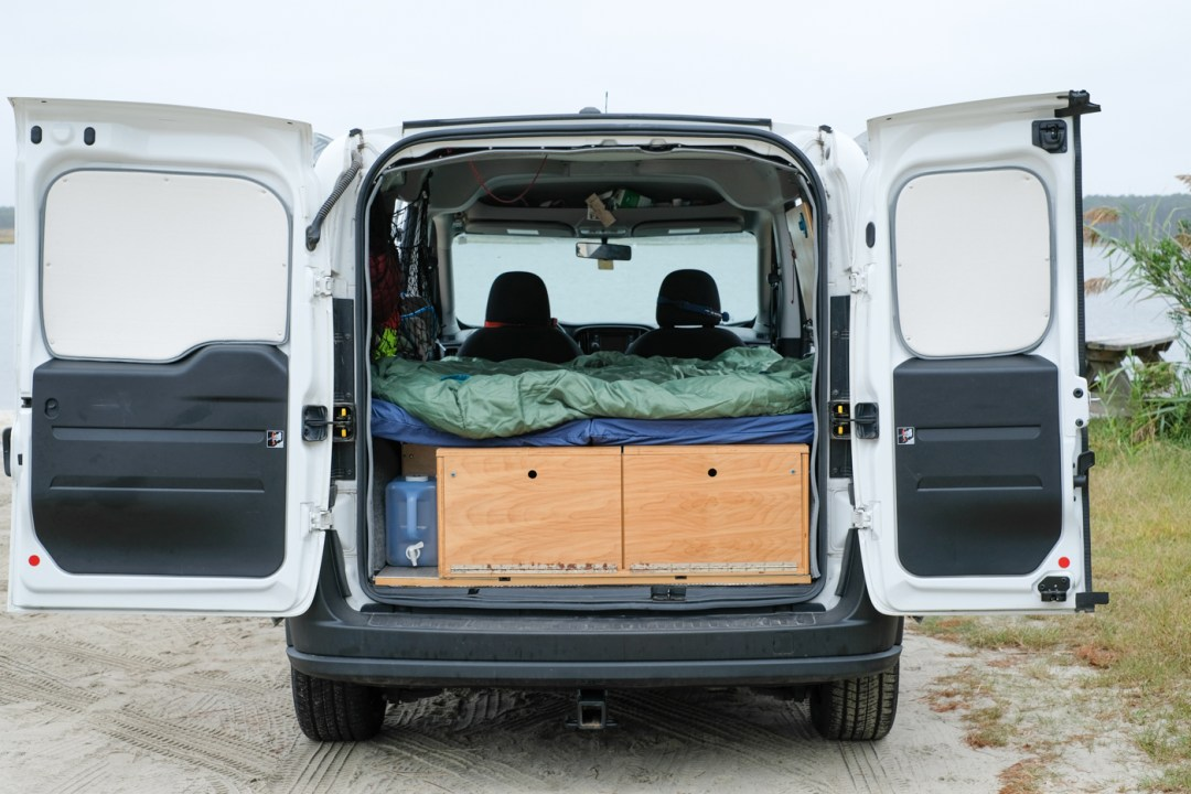 photo of the back of a ram promaster city van life bed