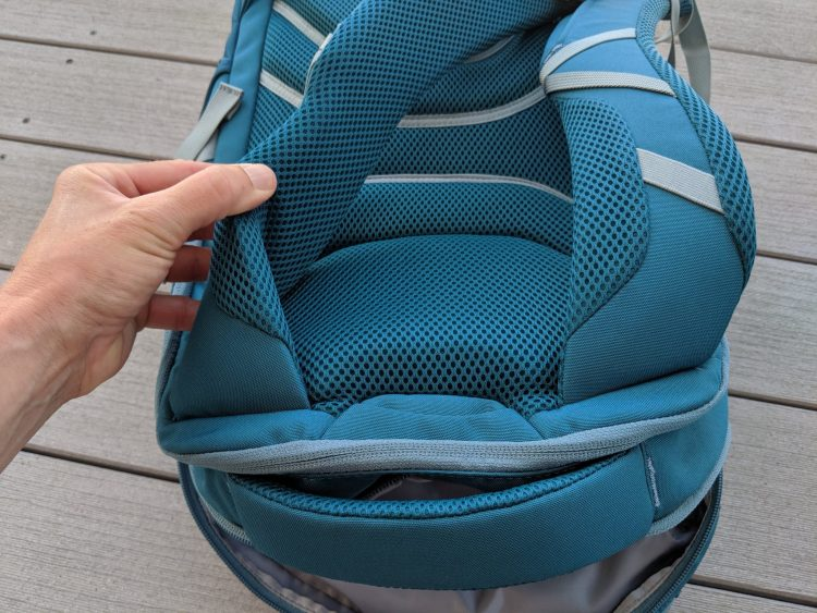A photo of the thick and breathable straps on the Backcountry 27L Daypack