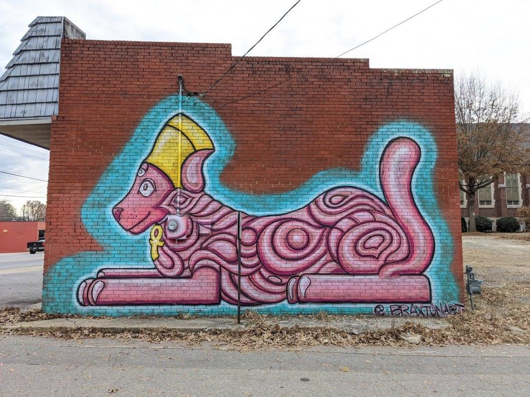 Best Instagram Spots in Asheville: pink dog on Haywood Road