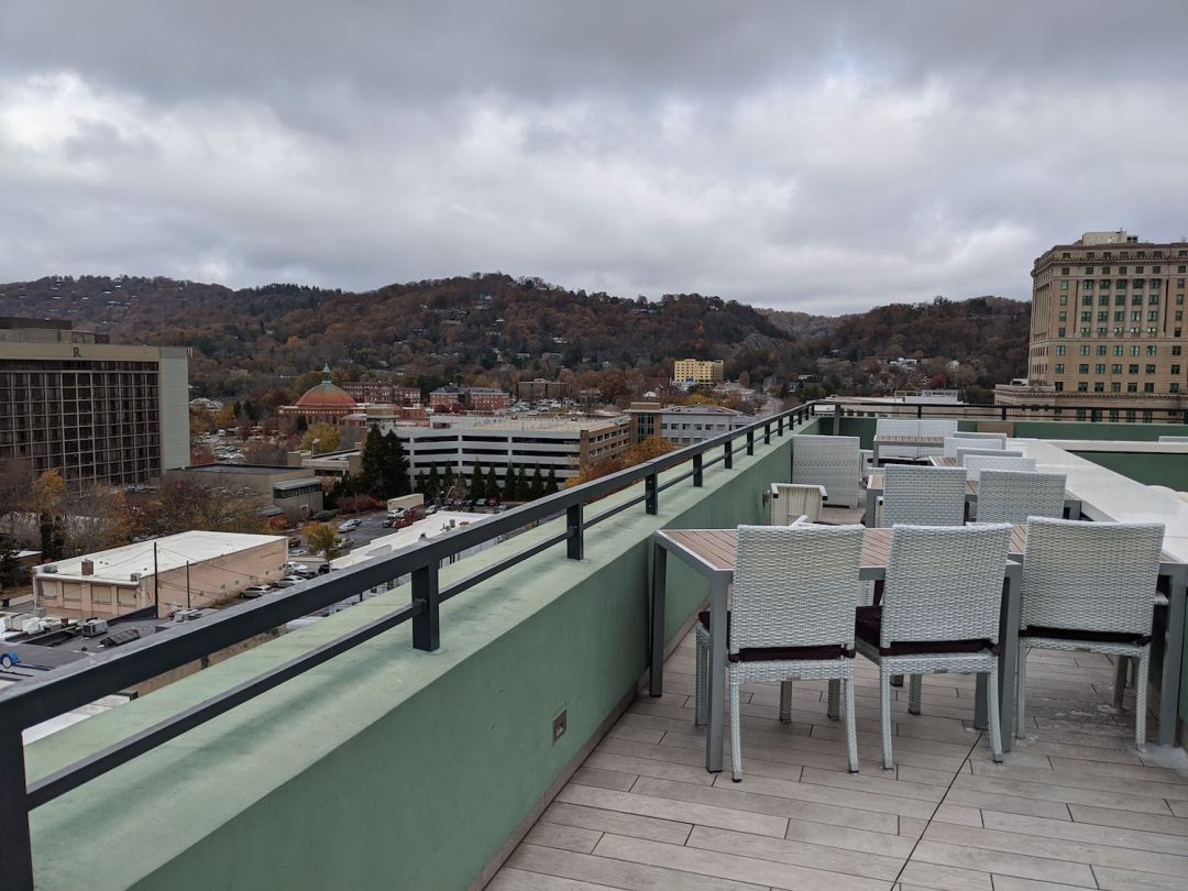 a photo of the rooftop outdoor bar in Asheville, Capella on 9