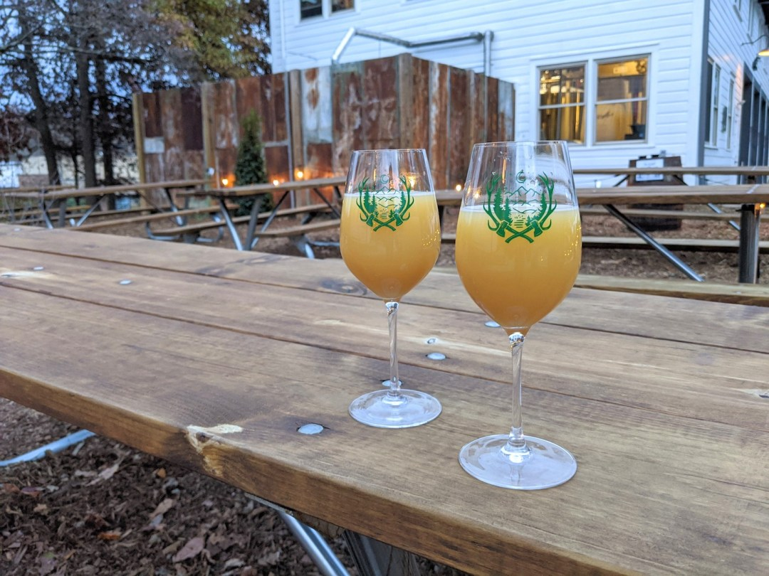two glasses of Hazy IPA at Forestry Camp in Asheville, North Carolina