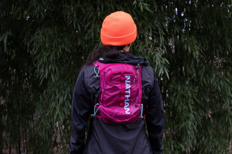 Photo of the two back pockets on the Nathan TrailMix 7 Liter Women's Mulit-Adventure Vest
