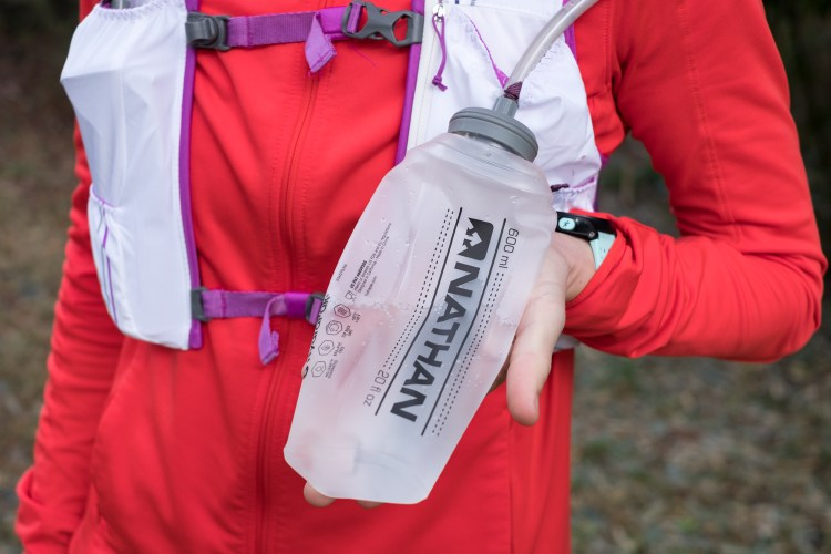 Photo of one of the 20oz soft flasks that comes with the Nathan VaporHowe 4L 2.0 Ultralight Race Vest