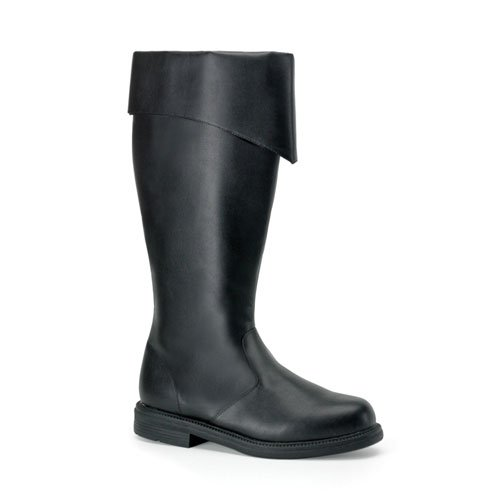 CAPTAIN-108 Wide Calf Pirate Boot, Black Pu-Large (12/13)