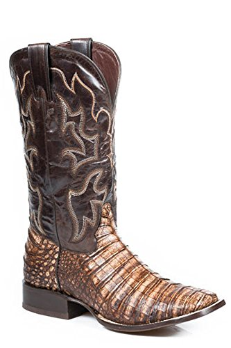 Stetson Boots Mens Brown Leather Exotic Caiman Crack Cowboy 11 D