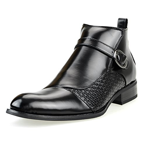 MM/ONE Men's Man-Made Leather Intorechato Embossed Two-tone Side Zipper Buckle Ankle Boots, Black, 42 EU (US Men's 9-9.5 M)