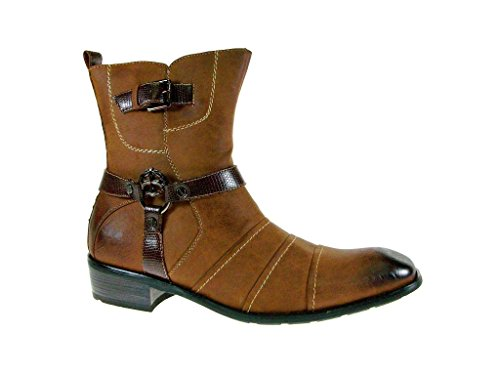 Delli Aldo Men's 811-Brown Distressed Cross Buckle Calf High Boots, Brown, 7