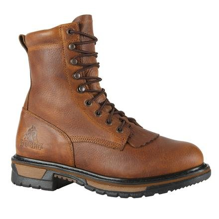 Rocky Boots Men's 8″ Ride Lacer 2722 Work Shoes,Tan Pitstop Leather,9.5 M