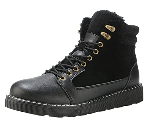 KAMEIQI Men British Style Leisure Leather Work Utility Martin boots(9D(M)US,black)