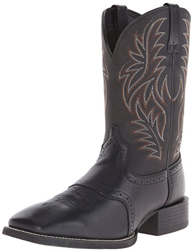 Ariat Men's Sport Western Wide Square Toe Western Boot,  Black,  10.5 D US