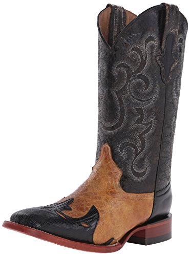 Ferrini Men's Lizard Wingtip Men Western Boot, Black, 9 D US