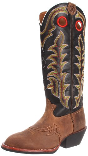 Tony Lama Men's RR1002 Boot,Tan Crazy Horse/Black Baron Calf,9 D US