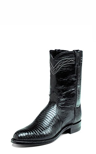 Justin Mens Iguana Lizard Western Black Leather Boot 8.5 EE US