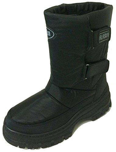 V-100 Men's Winter Boots Cold Weather Water Repellent Nylon Velcro Ski Warm Fur Lined Snow Shoes, Black (7 D(M) US, Black)