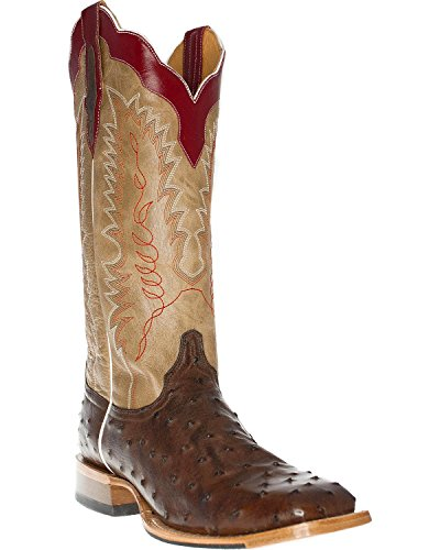 Cinch Men's Full Quill Ostrich Tall Western Boot Square Toe Tobacco US