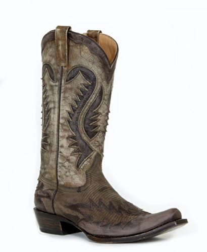 Stetson Mens 13″ Exotic Brown Mink Ring Lizard Western Cowboy Boots 12 D