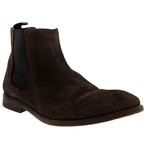 Mens H By Hudson Patterson Lace Up Leather Taupe Ankle Chelsea Boots – Taupe – 11/44