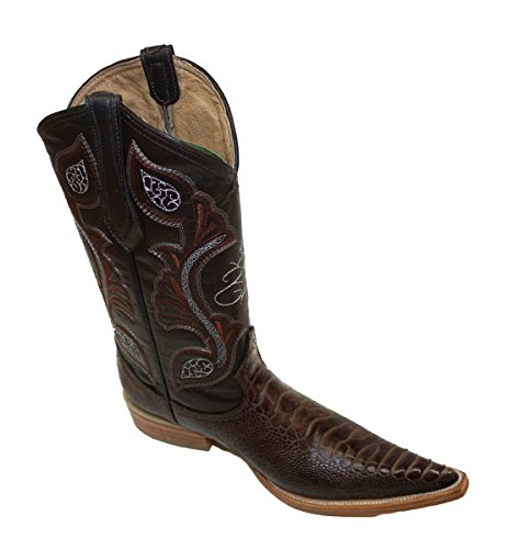 Cowboy Genuine Leather ostrich leg Print Cowboy Handmade Luxury Boots_Brown_8.5