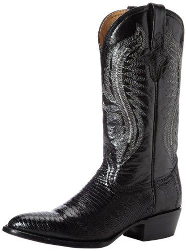 Ferrini Men's Genuine Lizard R-Toe Western Boot,Black,10 D US