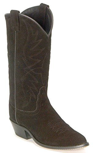 Old West Men's Roughout Suede Cowboy Boot Black US