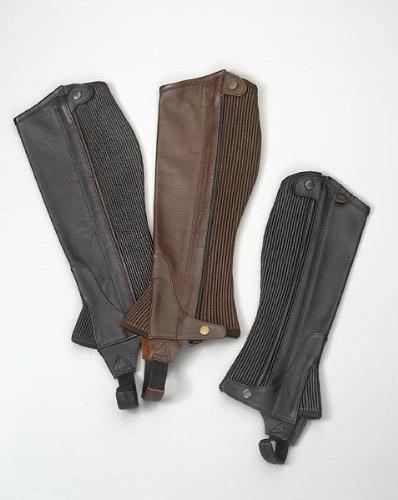 Ovation – Child Pro Top Grain Leather Half Chaps , Black/Black , B12-14