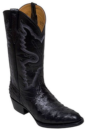 Mens Ferrini Black Full Quill Ostrich Western Cowboy R Toe Boots 13 EE