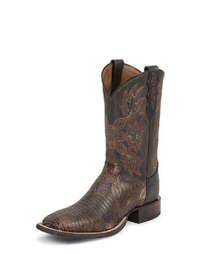 Tony Lama Men's San Saba Tri-Tone Lizard Cowboy Boot Square Toe Mahogany 9.5 D(M) US