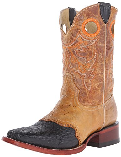 Ferrini Men's Lizard Vamp Western Boot, Black, 12 D US