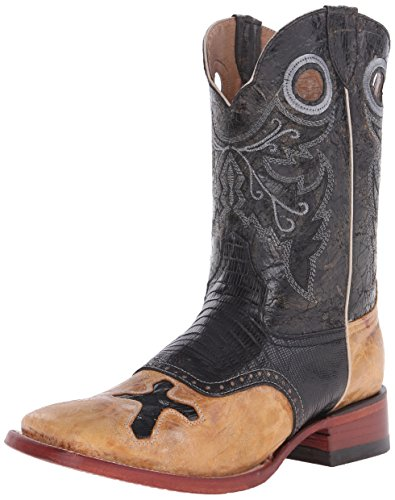 Ferrini Men's Lizard Cross Western Boot, Black, 9.5 D US