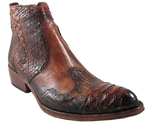 Jo Ghost 2716 Men's Python/Lizard/Leather, Wingtip Style, Luxurious Dressy Ankle Boots,Brown Size 47