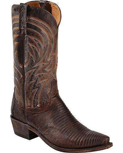 Lucchese Men's Handmade 1883 Percy Lizard Cowboy Boot Snip Toe Antq Tan US