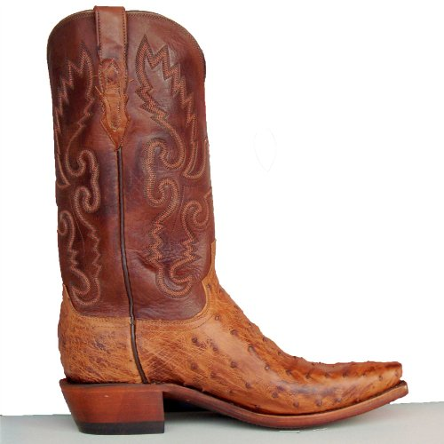 e4f399a6 Lucchese Men's 1883 Barnwood Full Quill Brown Ostrich Cowboy Boots 9 ...