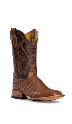 Cinch Men's Classic Caiman Mad Dog Goatskin Cowboy Boot Square Toe Chocolate US